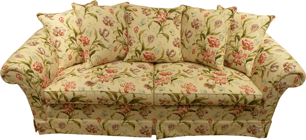 Bank bekleed met een meubelstof met groot patroon